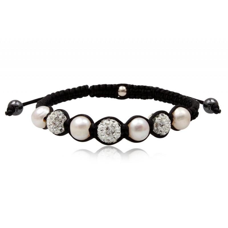 Bracelet SHAMBALLA strass blanc et perles blanches