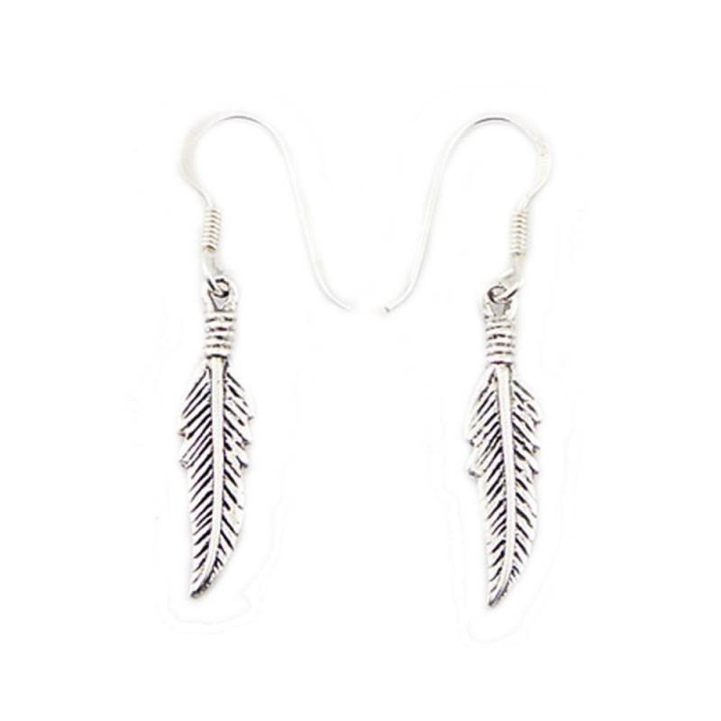 Boucles d'oreilles plumes en argent
