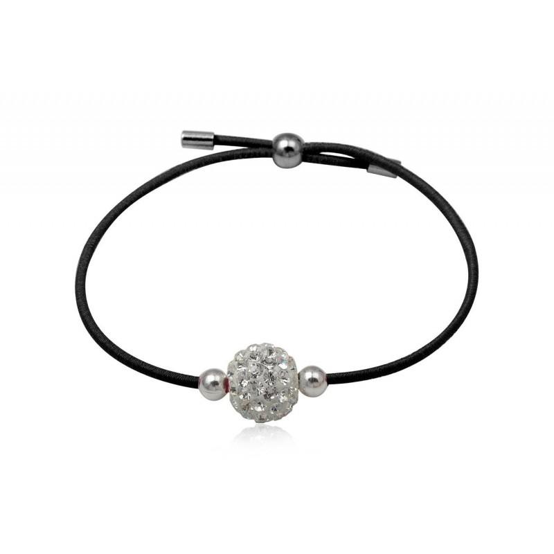 bracelet argent et strass et elastique