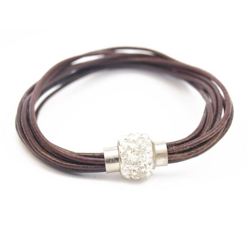 Bracelet cuir marron et boule strass blanc