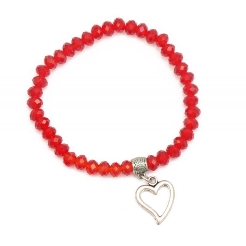 Bracelet perles cristal et breloque coeur