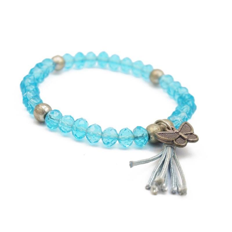 Bracelet perles cristal et breloque papillon