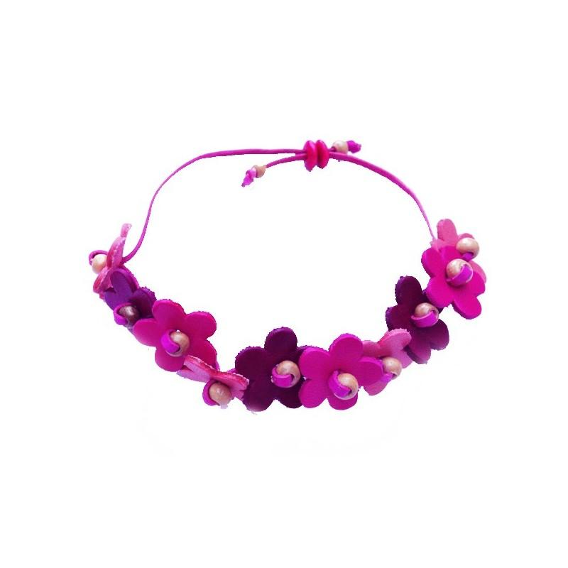 bracelet en cuir avec fleurs roses et blanches