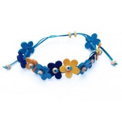 bracelet en cuir avec fleurs bleues, jaunes