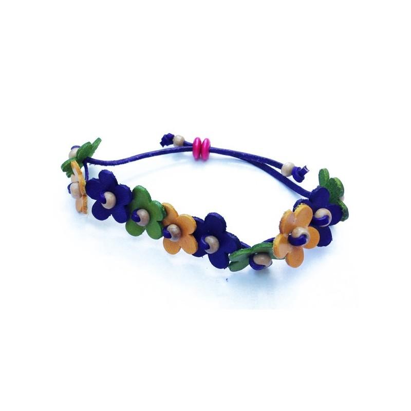 bracelet en cuir avec fleurs blues, jaunes et vertes