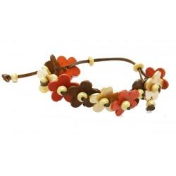 bracelet en cuir avec fleurs argent, or, marron, orange