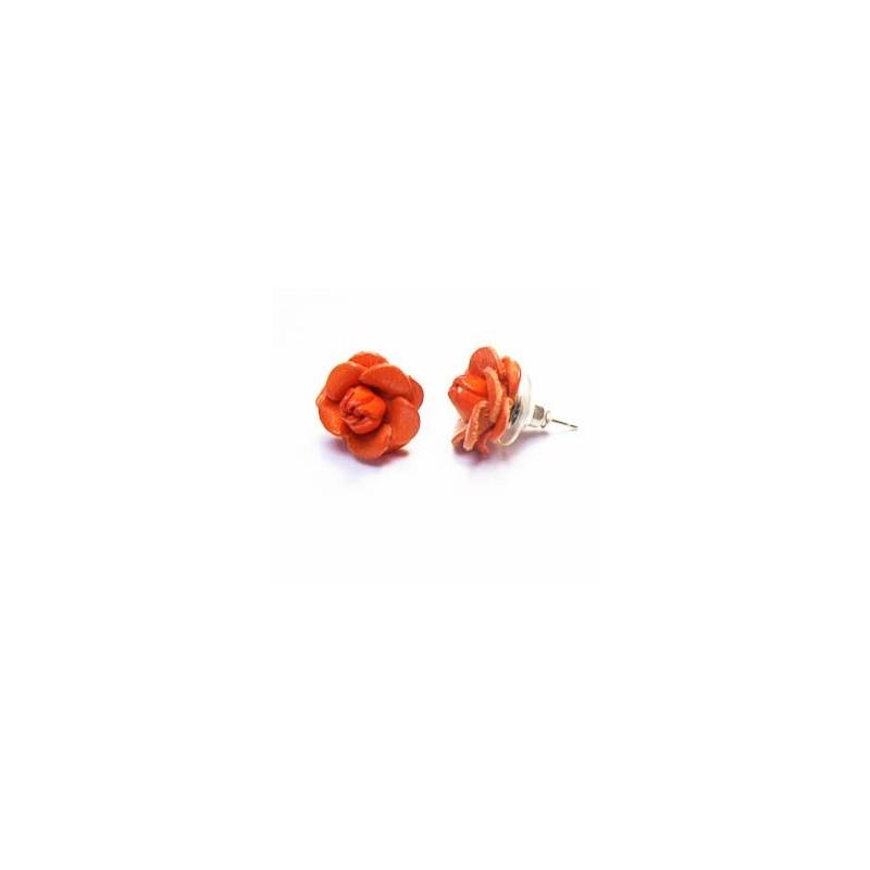 Boucle d'oreilles, puces en cuir, forme FLEUR orange
