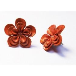 Boucle d'Oreilles FLEUR CUIR orange