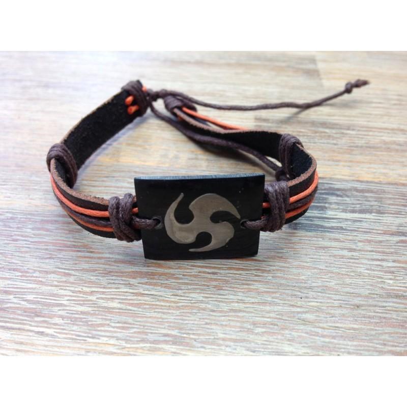 bracelet homme cuir et roue spirale