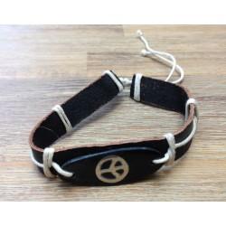 bracelet homme cuir et symbole peace & love