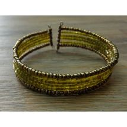 Bracelet perles de cristal jaune et fil noir