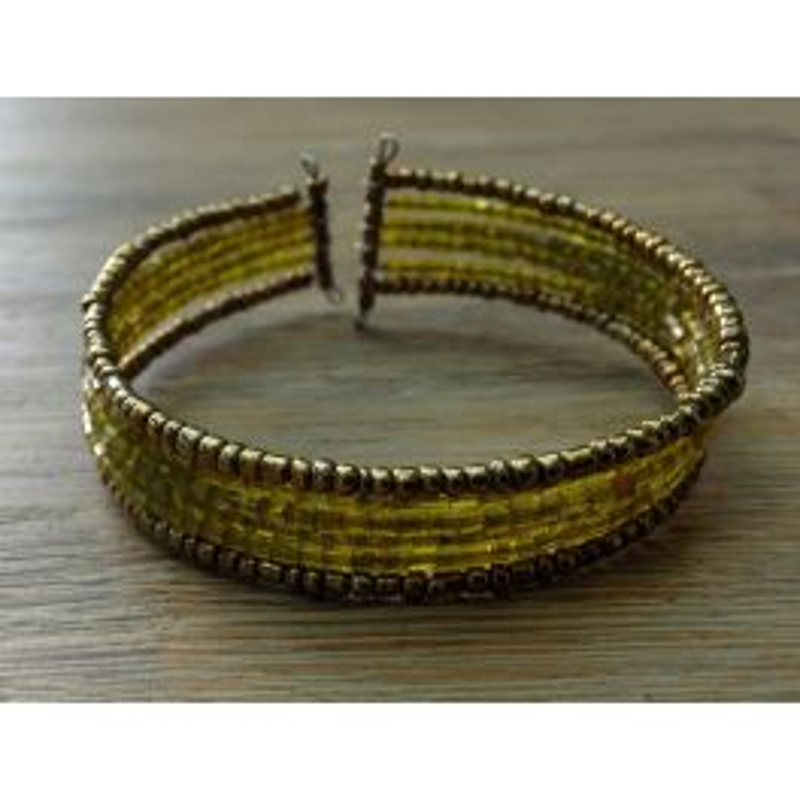 Bracelet rigide, manchette jaune