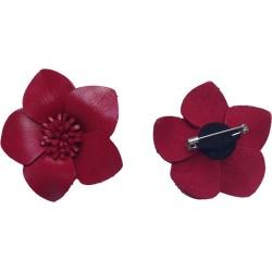 Broche cuir forme fleur de couleur rouge
