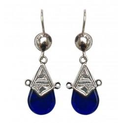 Boucles d'oreilles en argent ethnique touareg en verre bleu