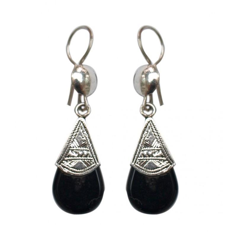 Boucles d'oreilles en argent ethnique touareg en onyx
