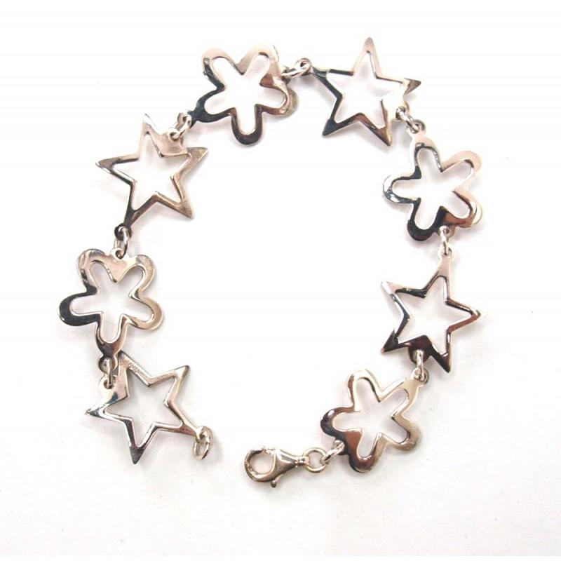 Bracelet en argent étoiles et fleurs