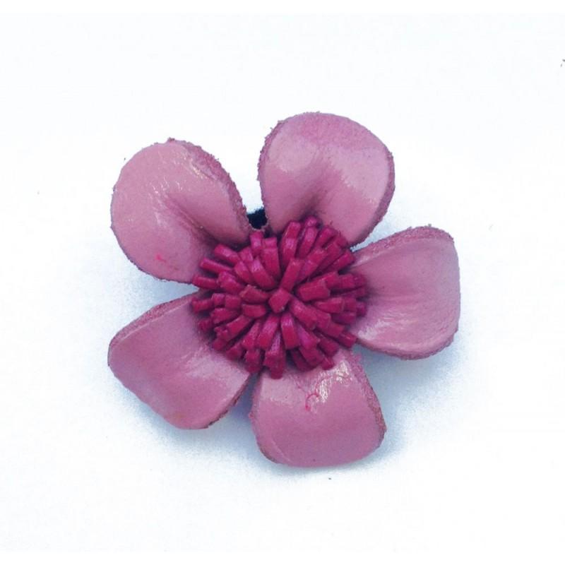 Broche fleur en cuir coloré - rouge et vert
