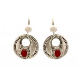 Bijoux Touareg Ethniques Boucles d'Oreilles en Argent ronde et perle de jade rouge