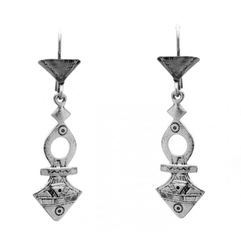 Boucles d'oreilles touareg forme croix du sud de Timia en argent ciselé