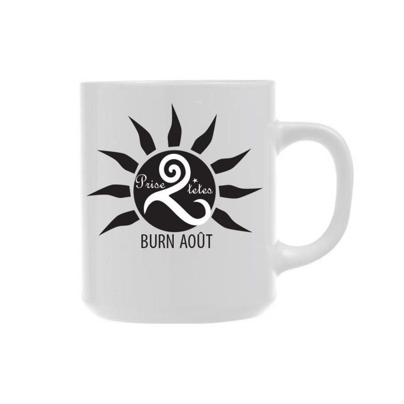 Mug blanc Burn Août Prise 2 Têtes