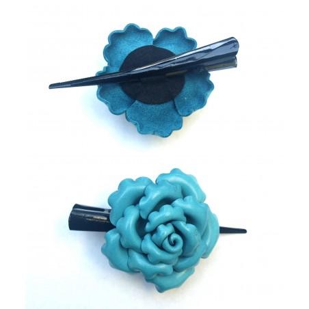 Barrettes cheveux avec grosse fleur en turquoise