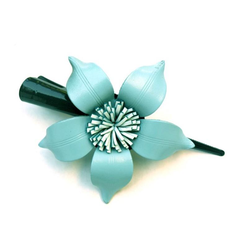 Barrettes fleur en cuir - Divers coloris