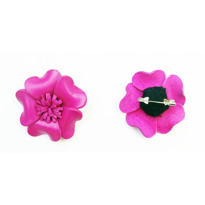 Broche en cuir coloré forme fleur - Divers coloris