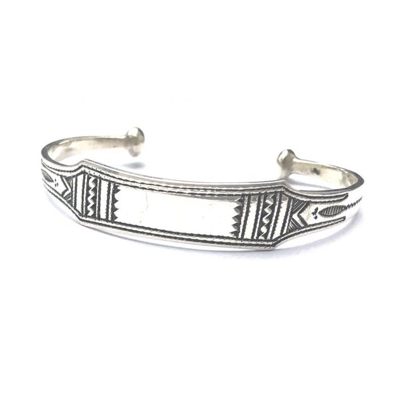 Bracelet rigide plat touareg en argent