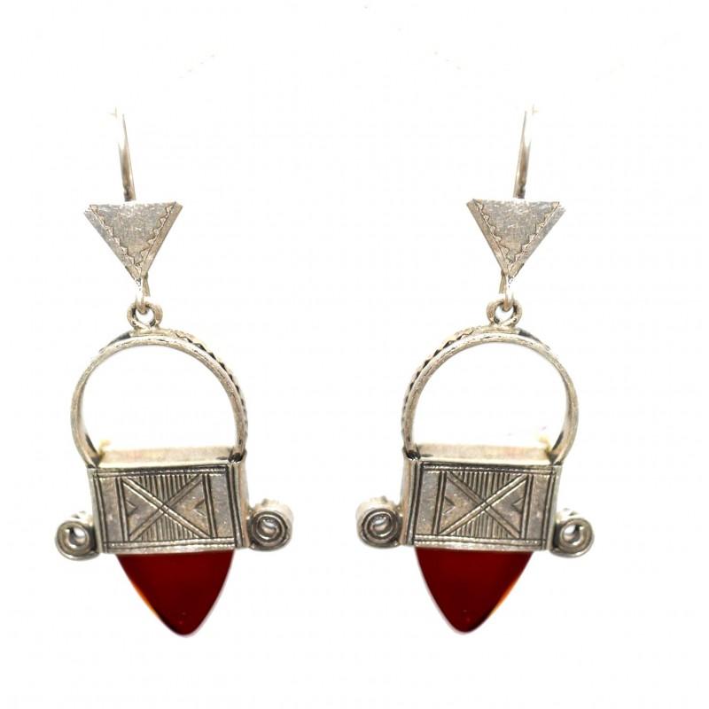 Boucles d'oreilles en argent ethnique touareg en verre rouge