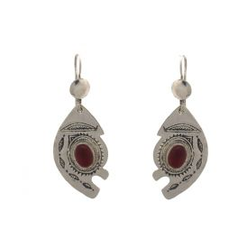 Bijoux Touareg Ethniques Boucles d'Oreilles stylisée eterle de verre rouge