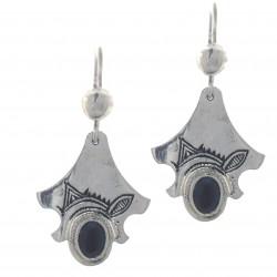 Boucles d'oreilles touareg forme feuille argent