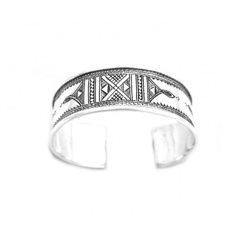 Gros Bracelet rigide gravé touareg en argent gravé