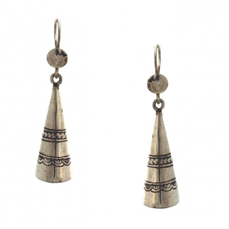 boucles d'oreilles touareg forme cône en argent