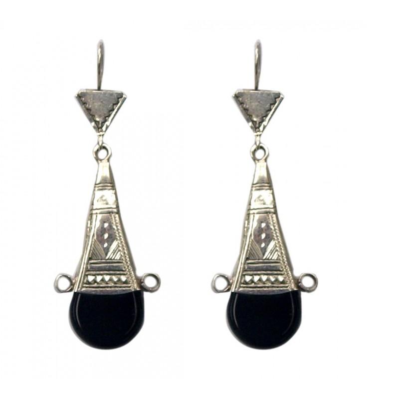 Boucles d'oreilles en argent ethnique touareg en onyx noir