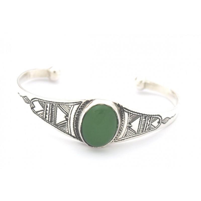 Bracelet touareg médaillon vert