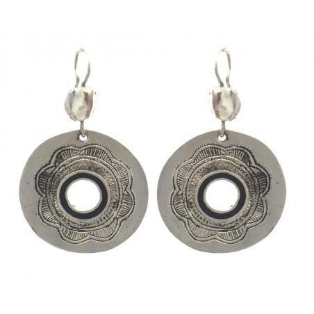 Boucles d'oreille touareg en argent, forme ronde