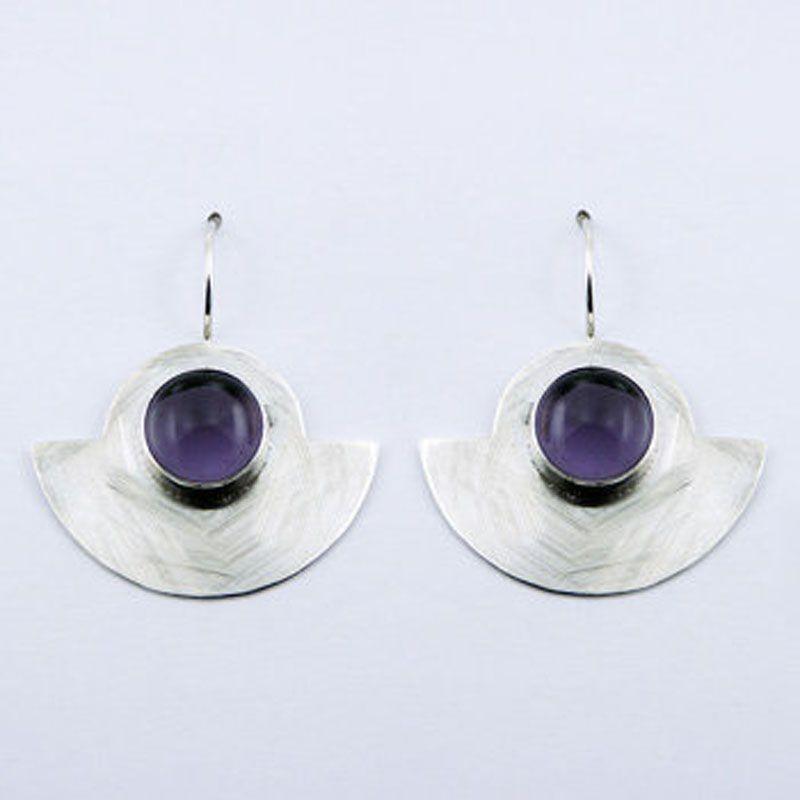 Boucles d'oreilles longues cristal violet