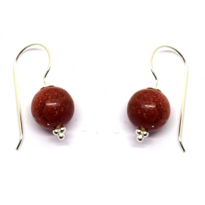 Boucles d'oreilles en argent et gorgone (corail)