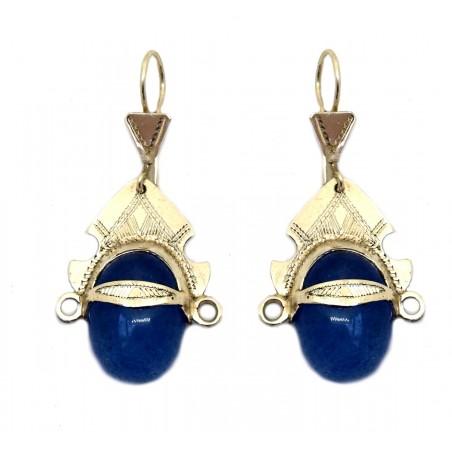 boucles d'oreille touareg agate bleue