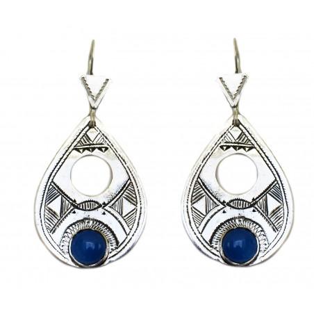 Boucle d'oreille touareg perle bleue