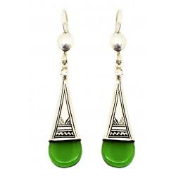 Boucles d'oreilles en argent ethnique touareg en verre vert