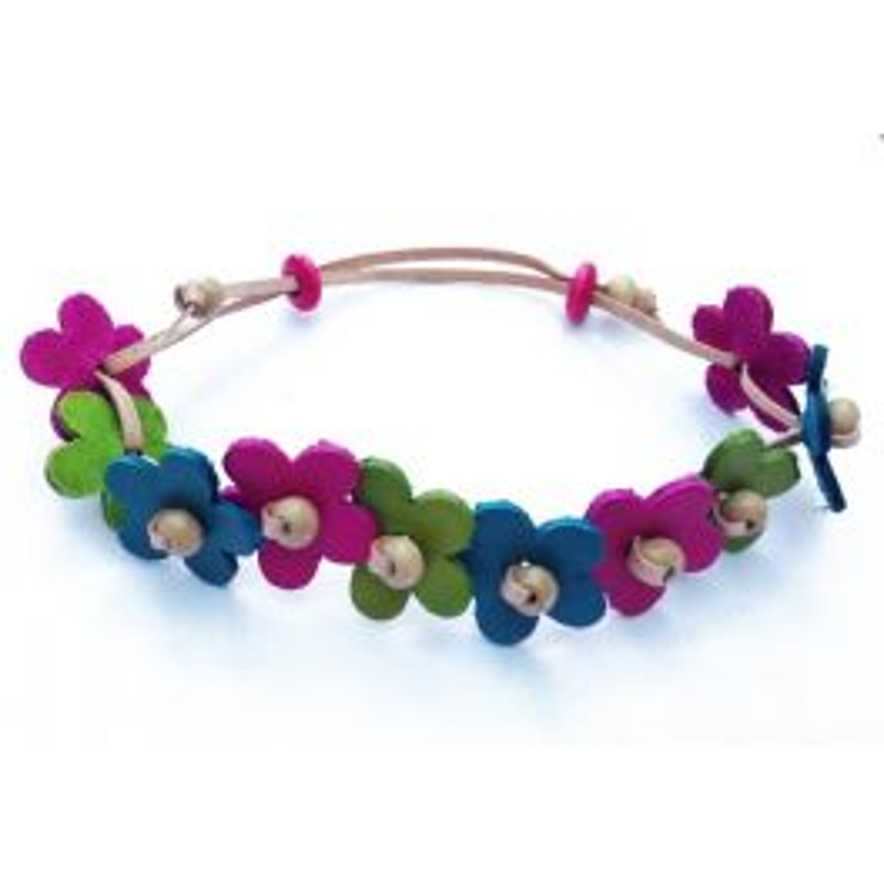 bracelet en cuir avec fleurs bleu, vert et rose