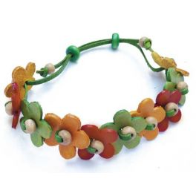 bracelet en cuir avec fleurs jaune, marron, vert