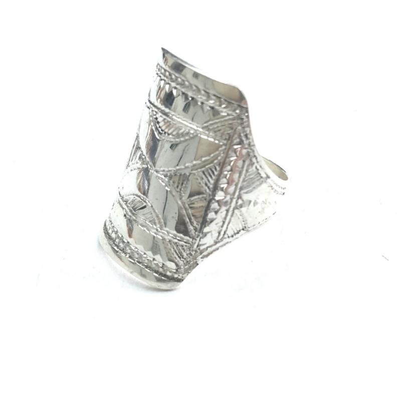 Bague Touareg, argent et ébène