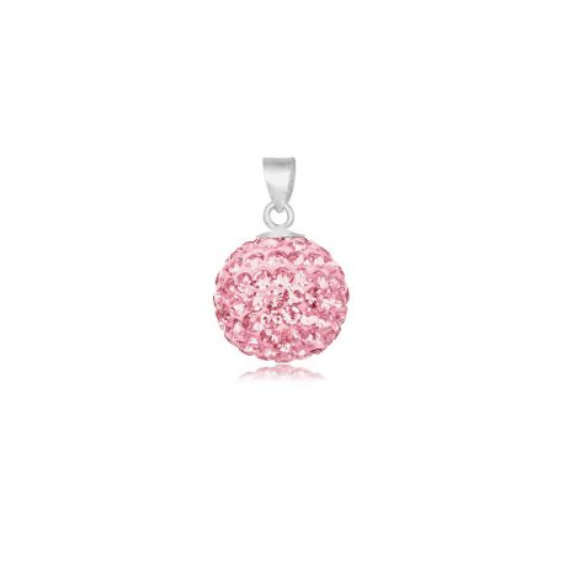 Pendentif shamballa rose - Diamètre 1,2cm