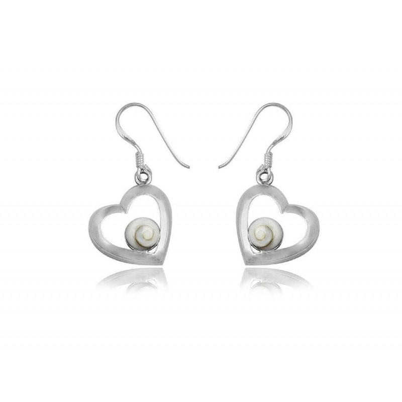 Boucles d'oreilles coeurs en argent et oeil de sainte lucie