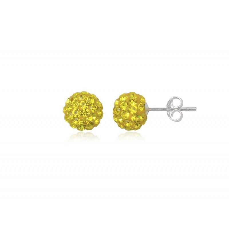 Boucles d'oreilles strass jaune et argent, forme boule