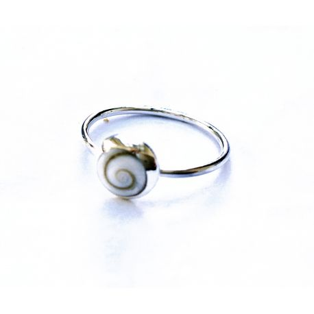 Long silver ring with shiva eye