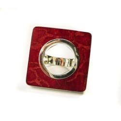Bargue carrée en argent et gorgone rouge