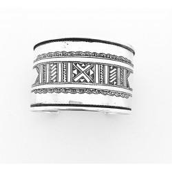 Bracelet rigide arrondi touareg en argent et ébène